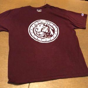 Maroon CHAMPION Big Cat Graphic T Tee Shirt L